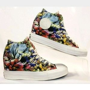 Converse Lux Wedge High Tops, Flowers, Size 7